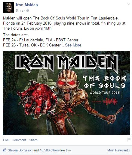 iron maiden announces us tour dates ghost cult magazine. Black Bedroom Furniture Sets. Home Design Ideas