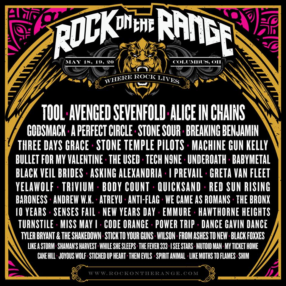 Rock Of The Range : the 2018 rock on the range lineup includes tool avenged sevenfold alice in chains and more ~ Russianpoet.info Haus und Dekorationen