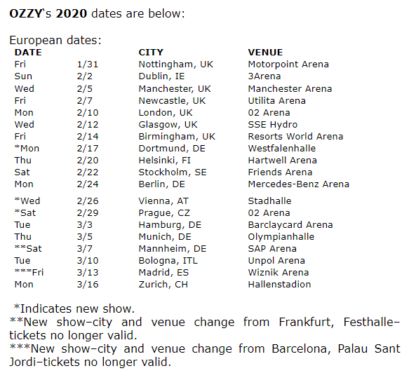 Judas Priest 2020 Tour Ozzy and Judas Priest Tour 2020 new dates ghostcultmag | Ghost